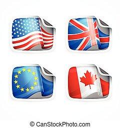 drapeau, étiquettes