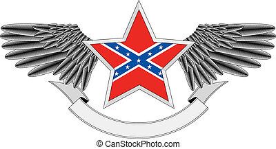 drapeau, étoile, confed, ailé