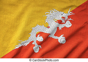 drapeau, a froissé, bhoutan