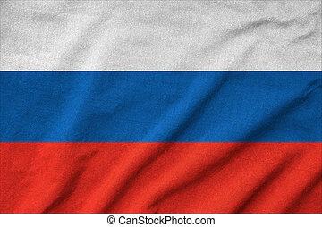 drapeau, a froissé, russie