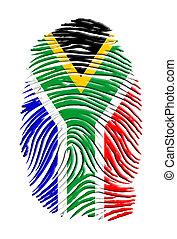 drapeau, africaine, sud, empreinte doigt