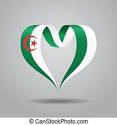 drapeau algérien, forme coeur, ribbon., vecteur,...