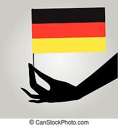 drapeau, allemagne, main