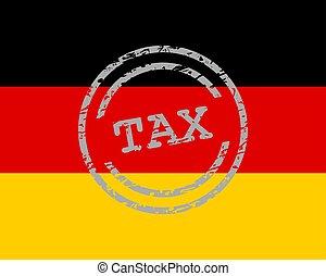 drapeau, allemagne, timbre, impôt