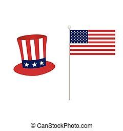 drapeau américain, à, chapeau, icône, couleur, illustration