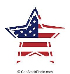 drapeau américain, étoile, icône, à, contour