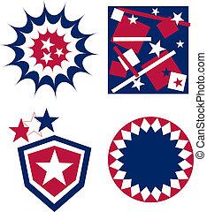 drapeau américain, 4ème juillet, écusson, jour, indépendance