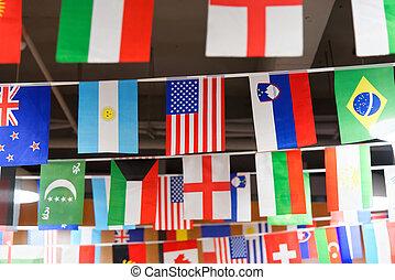 drapeau américain, accrocher dessus, a, corde