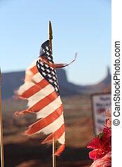 drapeau américain, canyon, fond