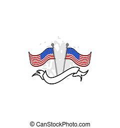 drapeau américain, conception, vecteur, gabarit, illustration