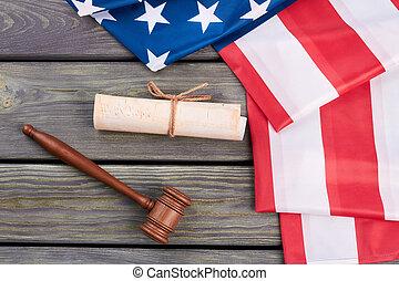 drapeau américain, constitution, et, bois, gavel.