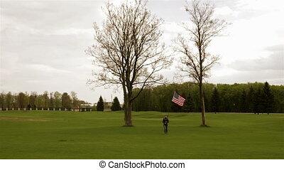 drapeau, américain, girl, mains