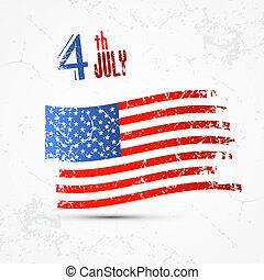drapeau américain, grunge, jour, indépendance