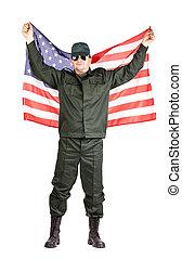 drapeau américain, homme