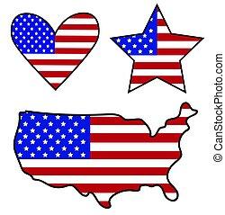 drapeau américain, icônes