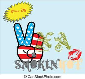 drapeau américain, main