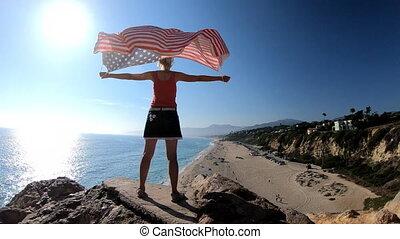 drapeau américain, malibu