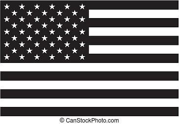 drapeau américain, noir, blanc
