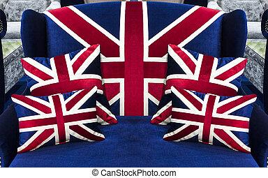 drapeau, américain, oreillers, sofa