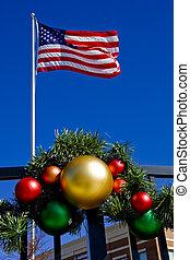 drapeau américain, ornements, noël