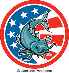 drapeau américain, poisson-chat, cercle, dessin animé, natation