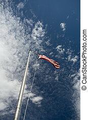 drapeau américain, souffler, wind.