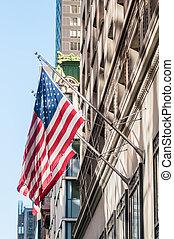 drapeau américain, sur, a, bâtiment historique