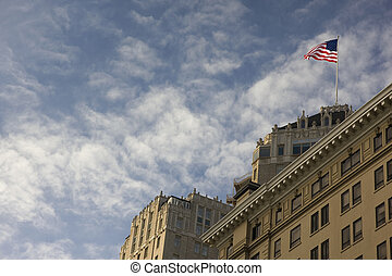 drapeau américain, sur, a, bâtiment, toit
