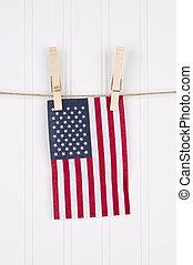 drapeau américain, sur, a, clothesline
