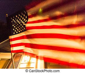 drapeau américain, sur, a, maison