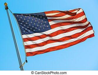 drapeau américain, sur, a, poteau