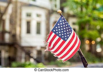 drapeau américain, sur, a, voiture, antenne
