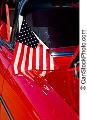 drapeau américain, sur, a, voiture classique