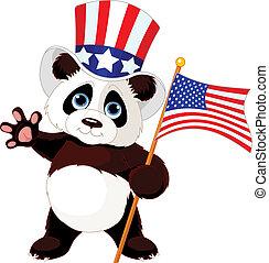 drapeau américain, tenue, panda