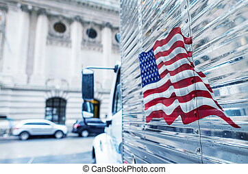 drapeau américain, thème, sur, a, camion