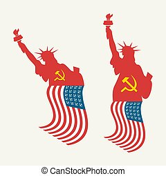 drapeau américain, usa, liberté, statue, socialiste