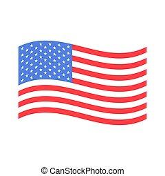 drapeau américain, vague, vecteur