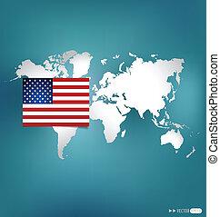drapeau américain, vecteur, map., illustration.