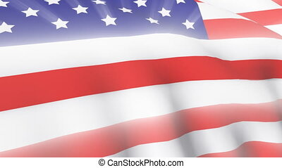 drapeau, américain, vent, souffler