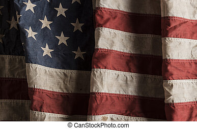 drapeau américain, vieux, et, porté