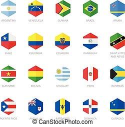 drapeau, amérique, antilles, sud