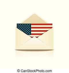 drapeau, amérique, enveloppe, lettre