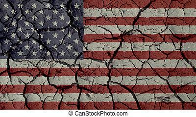 drapeau, ambiant, concept:, fissures, politique, crise, ou, nous, boue