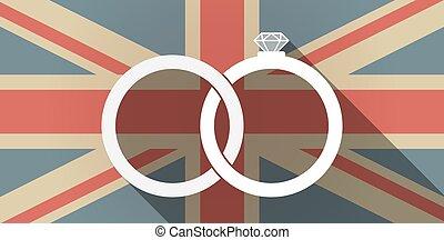 drapeau, anneaux, bonded, mariage, icône, long, ombre, ...