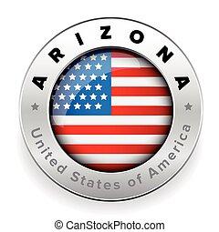 drapeau, arizona, écusson, bouton, usa