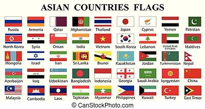 drapeau, asiatique, collection, pays
