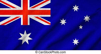 drapeau, australie, a froissé