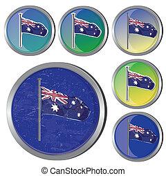 drapeau australien, boutons
