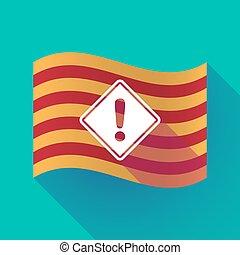 drapeau, avertissement, catalogne, panneaux signalisations, long, ombre
