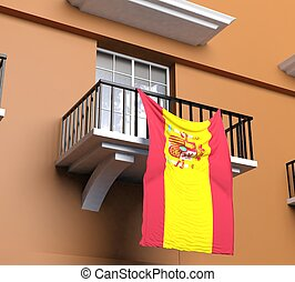 drapeau, balcon, espagnol